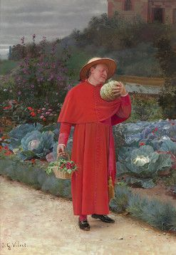"""Jehan George Vibert<br>1840-1902 French<br><br>The Ripe Melon<br><br>Signed """"J.G. Vibert."""" (lower left)<br>Gouache on paper<br><br>Heralded for his amazingly detailed and humorous paintings of satirical cardinals, Parisian artist Jehan George Vibert demonstrates both of these gifts in this humorous work entitled <em>The Ripe Melon</em>. Paintings of this subject matter would have certainly come with a severe legal punishment if Vibert would have executed them at an earlier period, but during…"""
