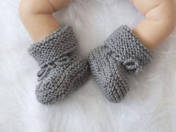Серый Детские сапоги - Вязаные детские пинетки - Мальчик обувь - Рука Knit Детские носки - Пол Нейтральное пинетки - серый Детские пинетки - Stay On Boots
