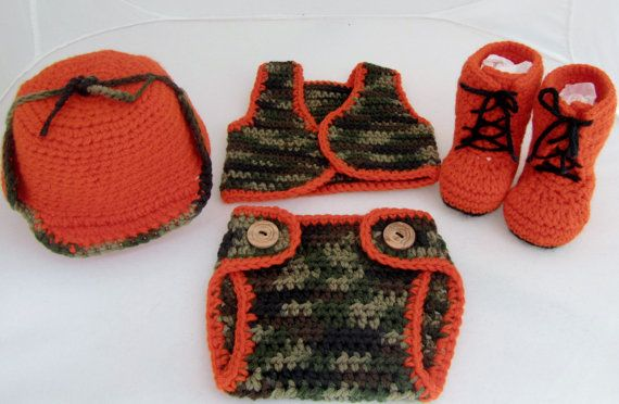 Free Crochet Pattern Hunting Hat : Baby Camo Hunting outfit - Hat, Vest, Diaper Cover, Boots ...