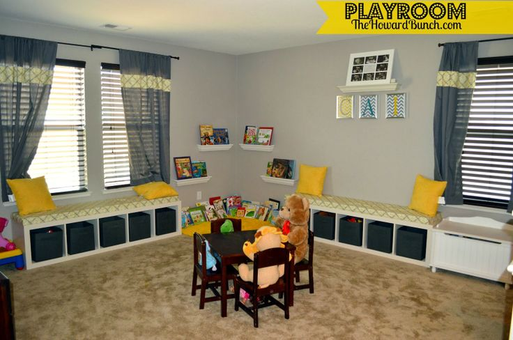 A playful yellow and gray playroom building a new house for Office playroom