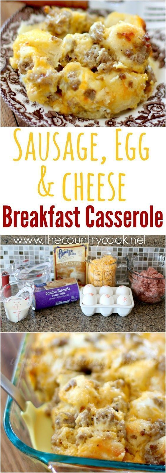 Sausage, Egg & Cheese Biscuit Casserole recipe from The Country Cook.