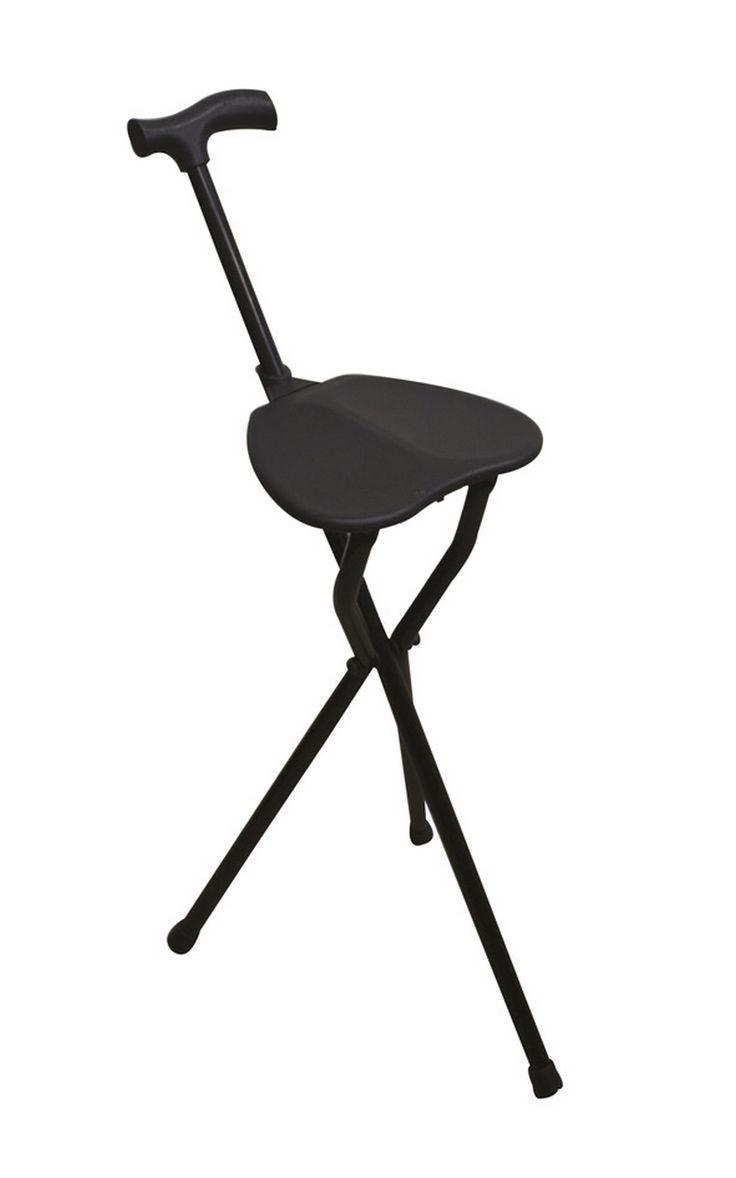 Laska inwalidzka do podpierania ze składanym siedziskiem z trzema nogami. Dostępne na www.OrtoModa.pl