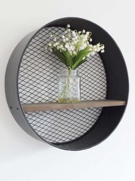 Retro Industrial Metal Wall-Mounted Circular/Round Wooden Shelf with Mesh Back in Home, Furniture & DIY, Furniture, Bookcases, Shelving & Storage | eBay!