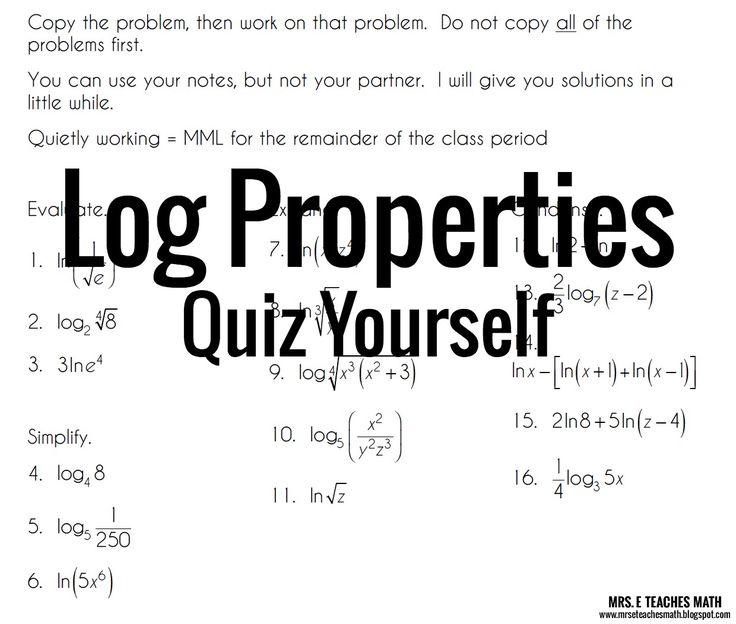 Log Properties Quiz Yourself