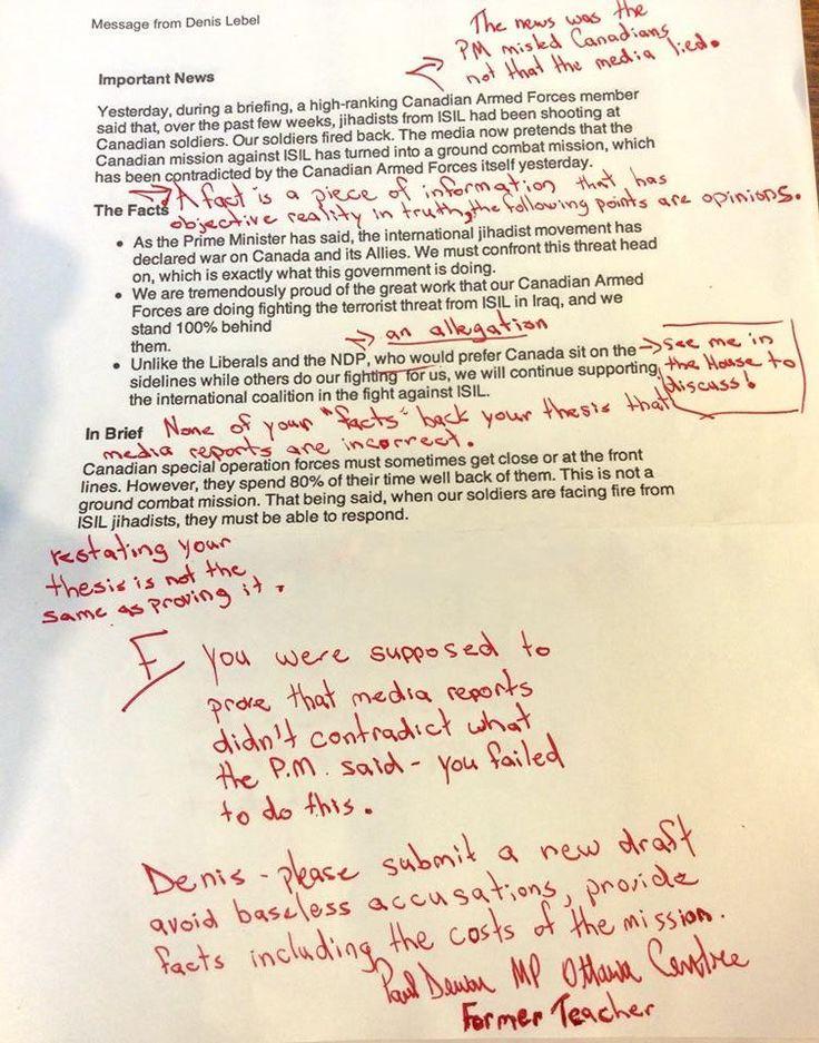 Canadian MP (and former teacher) Paul Dewar corrects gov't