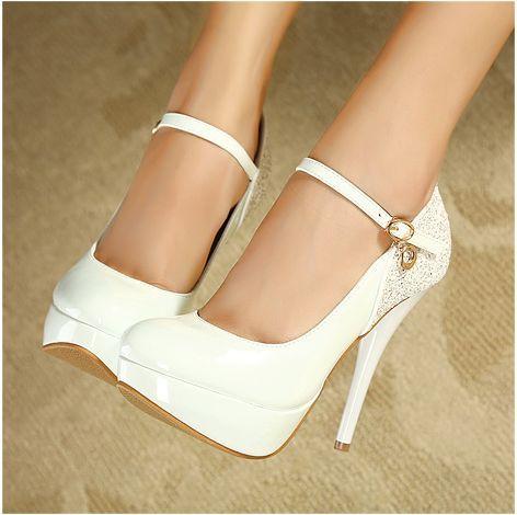 Graceful Sweet sparkling princess-Stiletto Heels  Stiletto Heels (beige,white,pu,pu)