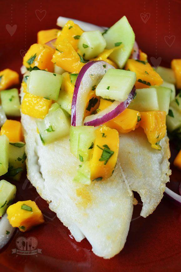 El Blog de Amor en Berza: Filete de pescado con pico de gallo de pepino y mango