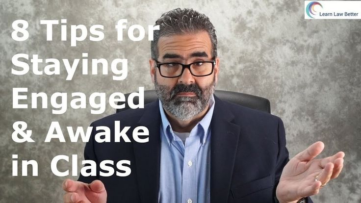Learn how to stay awake and engage with the material during class. Engagement has been proven to result in deeper learning and better grades. For more episodes, feel free to follow me at https://youtube.com/c/LearnLawBetter and https://facebook.com/LearnLawBetter