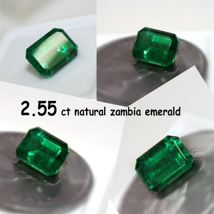2.55 Ct.Radiant Natural Dark Green Zambia Emerald for Gold Diamond Ring Pendant