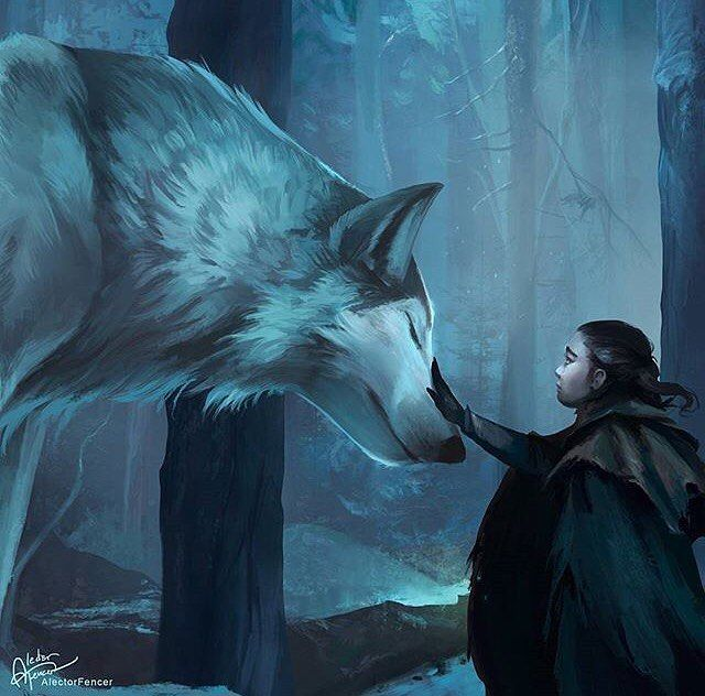 Game of Thrones Arya and Nymeria fanart by @AlectorFencer