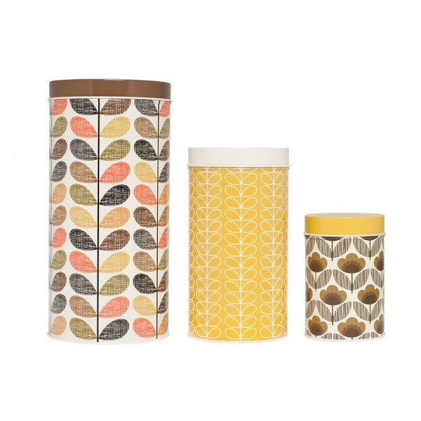 Orla Kiely Set of 3 Brown & Yellow Canisters ~ Graham & Green