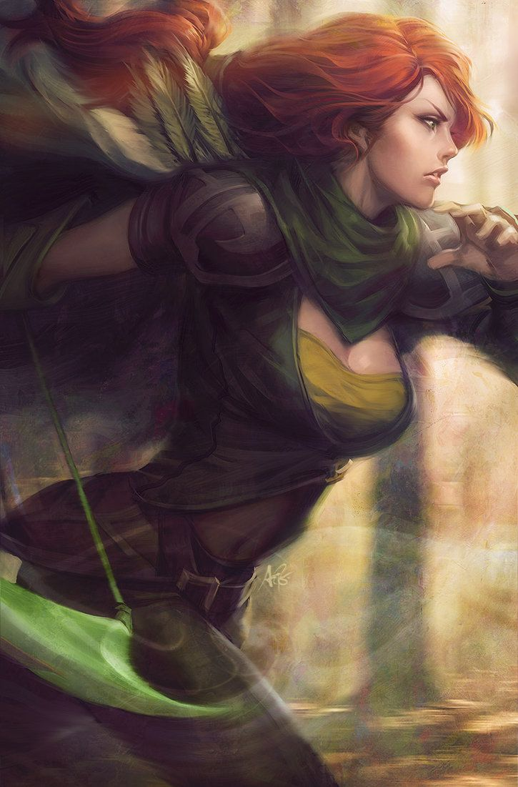 Her clothing could be looser and the neckline higher, but I love this picture.  Windrunner by Artgerm