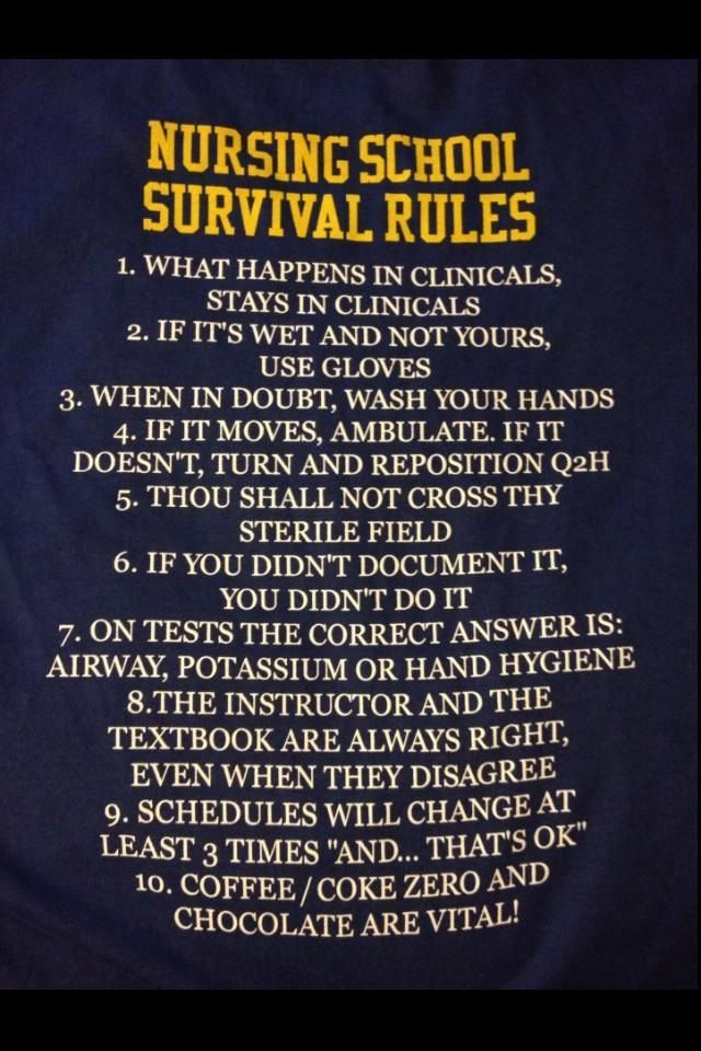 Wash hands! Check! Airway! Check! Gloves! Check! Coffee!! Check! Pulse? Oh shit! lol. This is interesting an excerpt from nursing school students.
