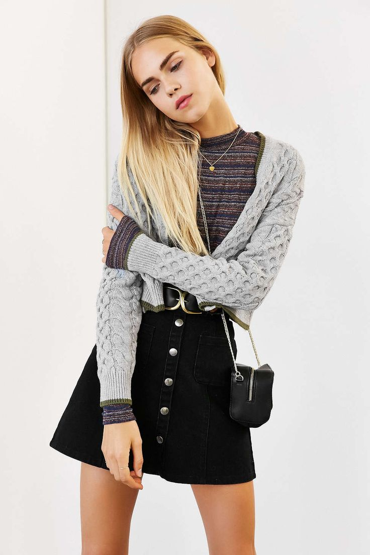 BDG Tipped + Cropped Cable Cardigan - Urban Outfitters