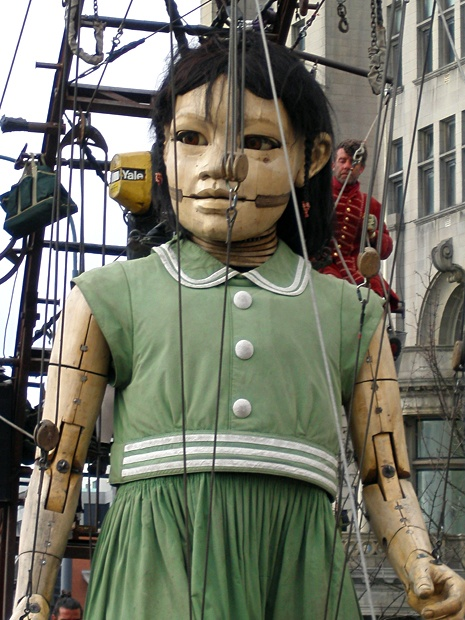 Little Giant Girl on her walk, Sea Odyssey Giant Spectacular Liverpool 2012