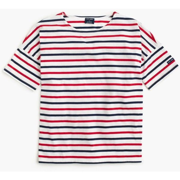 Saint James For J.Crew Short-Sleeve Slouchy T-Shirt ($105) ❤ liked on Polyvore featuring tops, t-shirts, shirts, white shirts, white t shirt, striped t shirt, nautical t shirts and loose t shirt