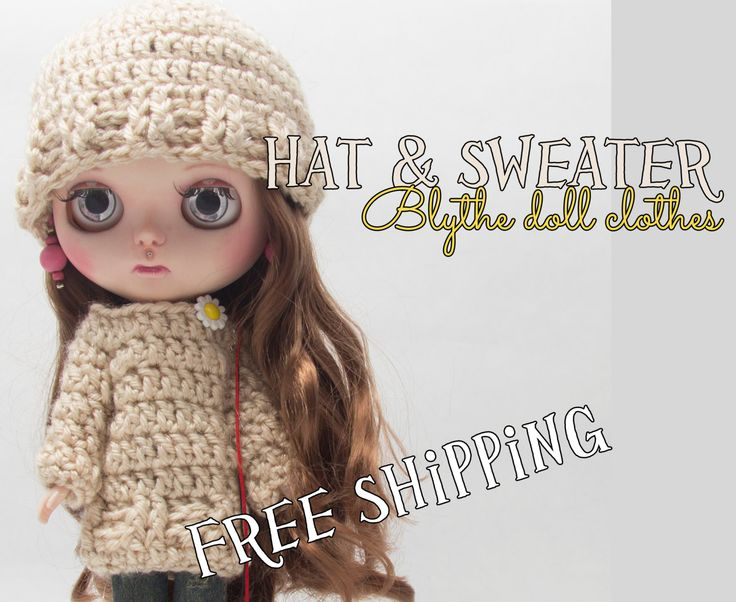 Blythe doll clothes, pullover & hat,beige with shine, blythe clothes, handmade, crochet clothes, blythe doll size, crochet pullover and hat by Theordinarydiary on Etsy