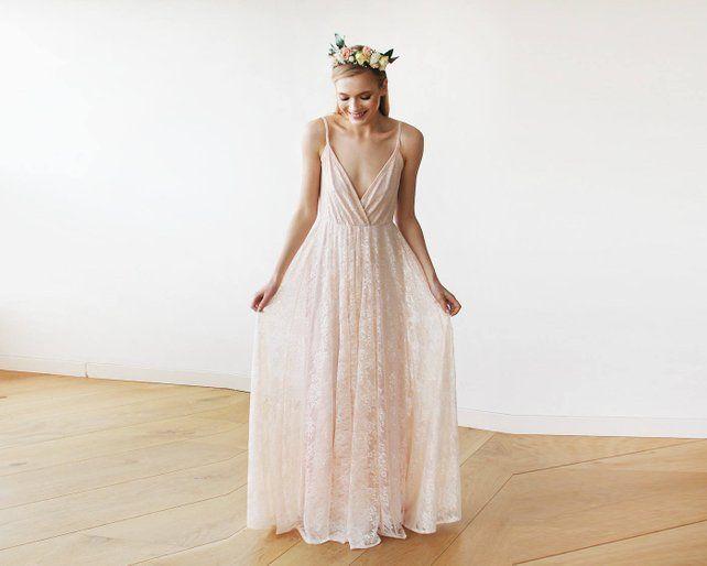 4f62f0cc6b73 Pastel pink lace wrap maxi dress with straps