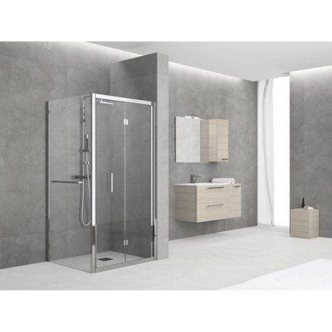 Porte de douche pliante 84/90 cm profilé chromé, Elyt