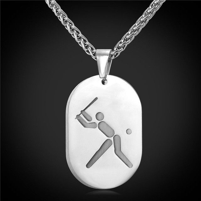 Dog Tag Double Necklace Pendant Baseball Sport Jewelry Stainless Steel/Gold Plated Chain Men/Women