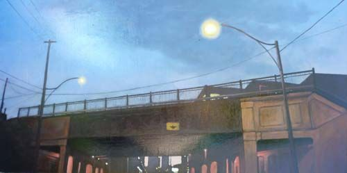 "West on Eastern #1, oil on panel, 20""x40"". $2200 framed"