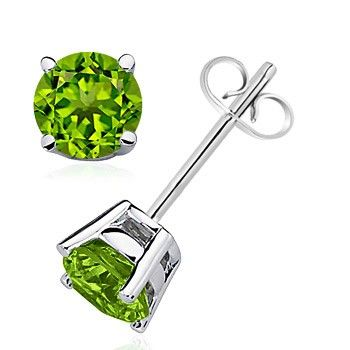 Angara Peridot Solitaire Heart Earrings t6dvY