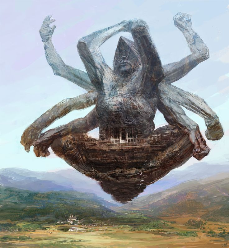 World with these floating statues that make up this world's cities.  The surface is wilderness.  Statues were special in the cultures past