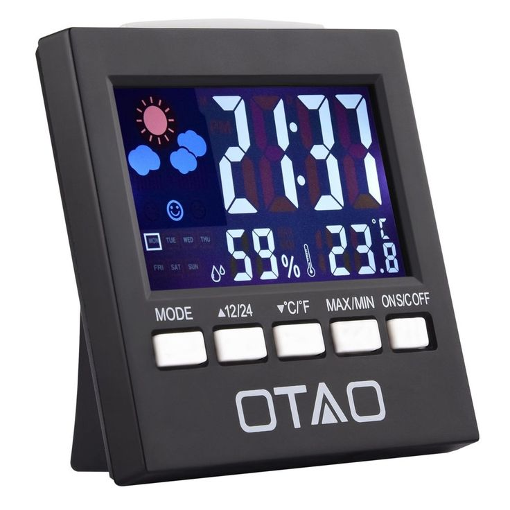 Digital Relative Humidity Meter Multi functional W/ Alarm Clock And Thermometer #OTAO