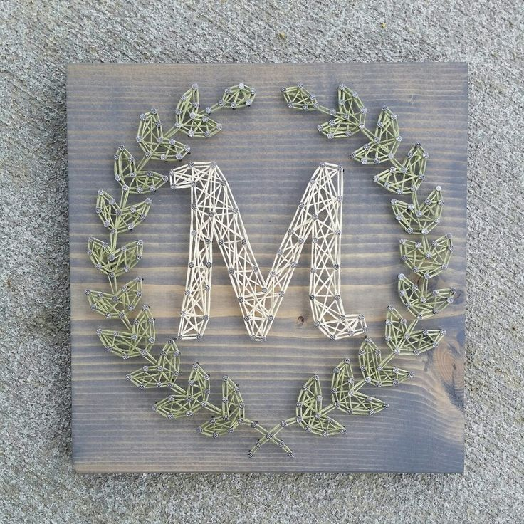 Custom string art laurel leaf monogram sign by Blossomingburlap on etsy