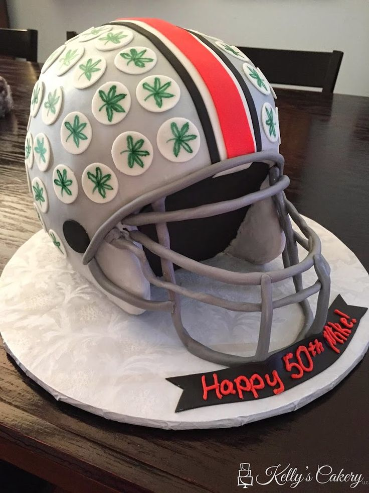 Ohio State football helmet cake - www.KellysCakery.com