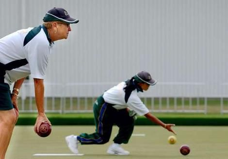 Australian Women's lawn bowling team practice at the Darebin International Sports Centre.