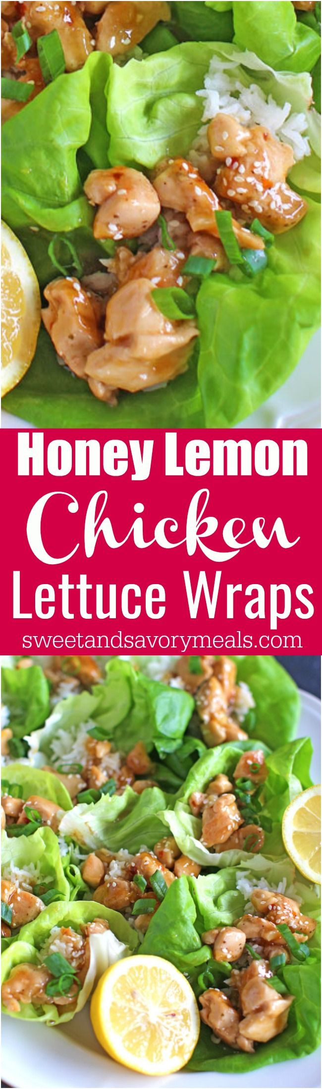 Honey Lemon Chicken Lettuce Wraps are such a great appetizer, snack or the perfect healthier dinner. Full of flavor and light, ready in 30 minutes. #chicken #asian #appetizer #light #healthyrecipes