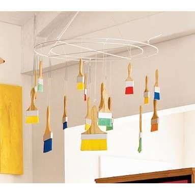Cool idea for over their art area in the playroom!
