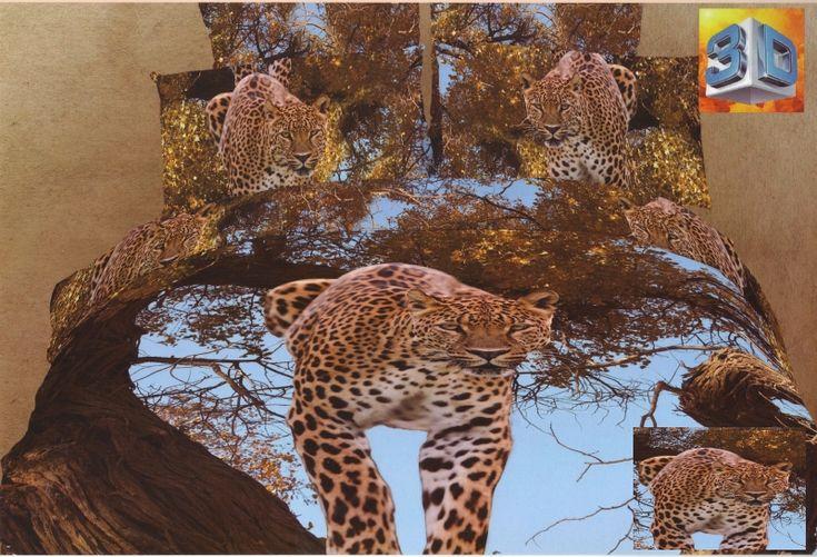 Modré bavlněné ložní povlečení s leopardem