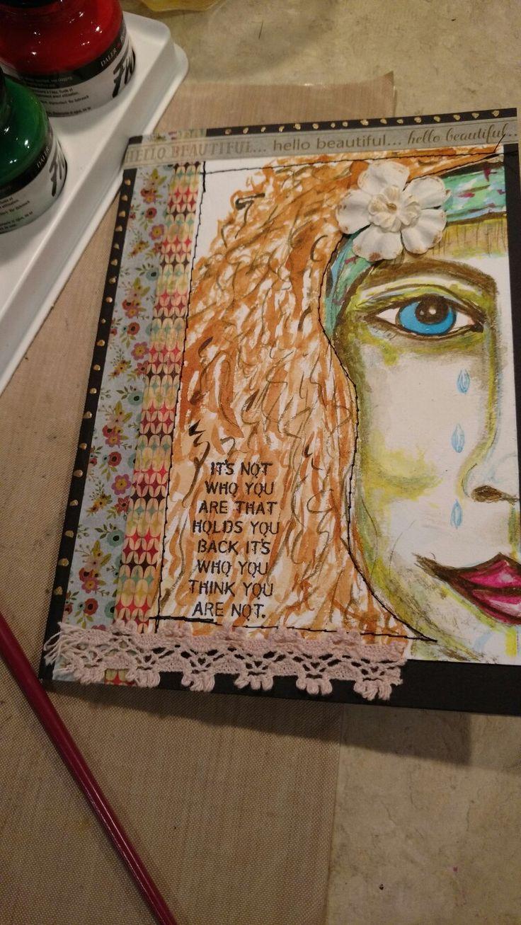 Card,  Faces.  Acrylic ink,  washi tape