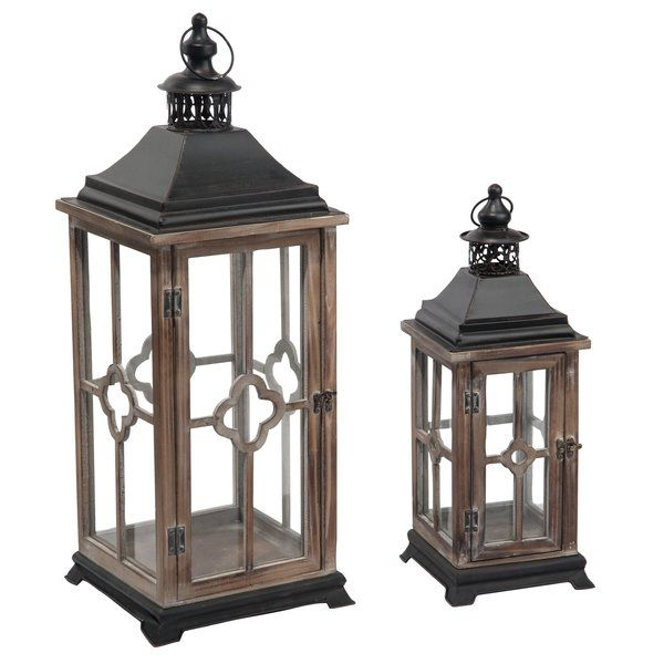 2 Piece Wood And Metal Lantern Metal Lanterns Lantern Set Lanterns