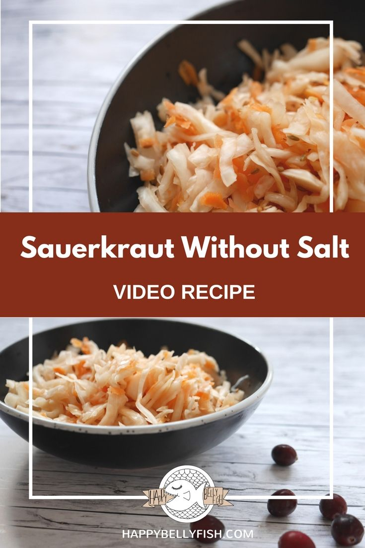 Sauerkraut Without Salt: Low-Sodium Pickled Cabbage (Video Recipe) // Квашеная капуста без соли и сахара - рецепт: https://happybellyfish.com/ru/recipes/kvashenaya-kapusta-bez-soli-i-sahara/