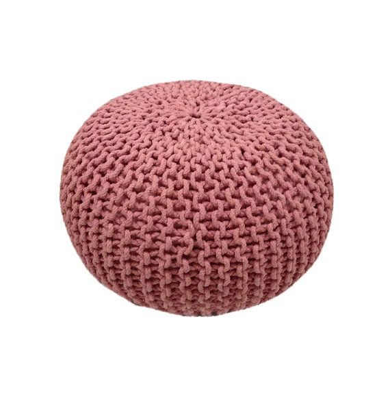 Handmade Knitted Pouf  Strawberry Ice Pink  Hand Knit by GFURN