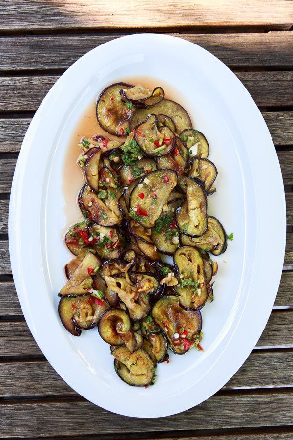 auberginen, auberginen rezepte, auberginen salat, thai salat, scharfer auberginen salat, grillen, bbq, geschenke aus meiner küche
