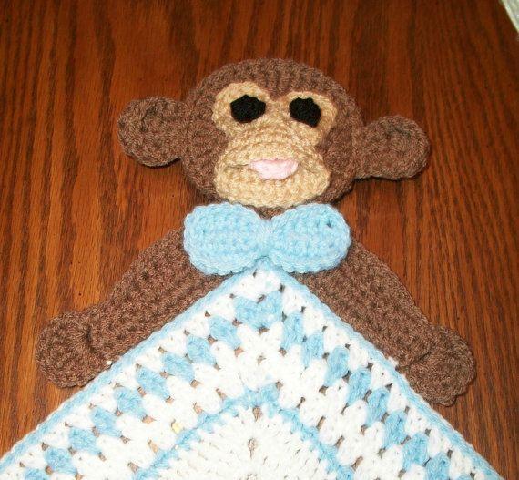 Crochet Boy Monkey Snuggle Blanket Blanket by NiftyNeedlework, $18.99