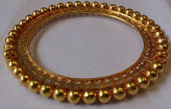 22 K ethnic tribal gold ball bangle bracelet by TRIBALEXPORT, $3400.00