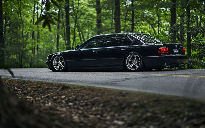Download wallpapers E38, BMW 7-series, 4k, stance, 740iL, tuning, road, black e38, BMW