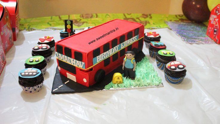 Homemade Eggless 3D/Custom Double Decker Bus theme 2nd birthday cake for boy at Pashan, Pune