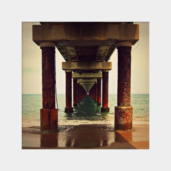 Under the Pier square fine art photography by UninventedColors,  (the beach at Duck, North Carolina--Outer Banks)