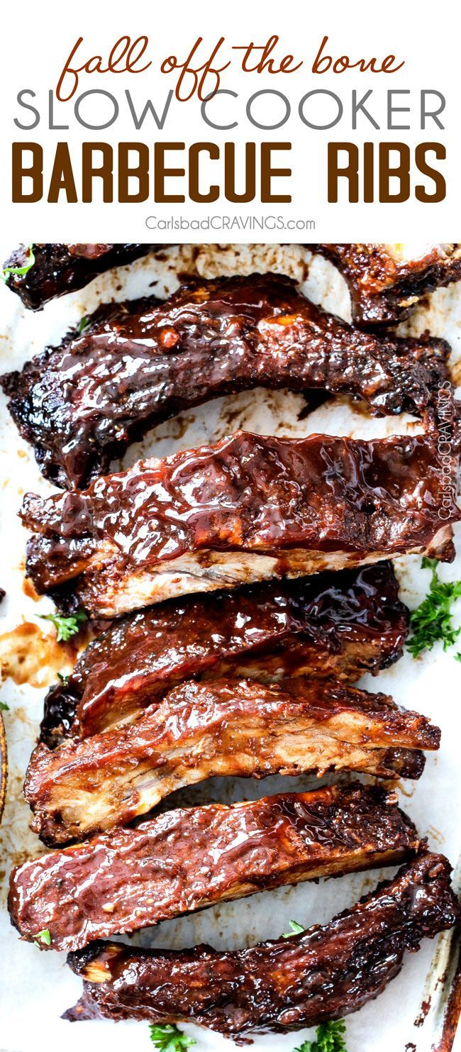 15 minute prep Fall-Off-the-Bone Slow Cooker Barbecue Ribs that everyone goes crazy for. They are slathered in the most incredible rub and barbecue sauce for amazing restaurant flavor. My husband says they are better and more tender than any restaurant.