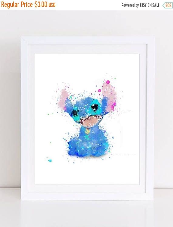 70%OFF Lilo and Stitch Watercolor Poster Printable Baby Room