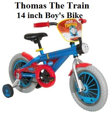 Check Thomas the Train Boys Bike, Blue/Red/Black, a 14 inch bicycle for boys, is designed with Thomas Train Graphics.