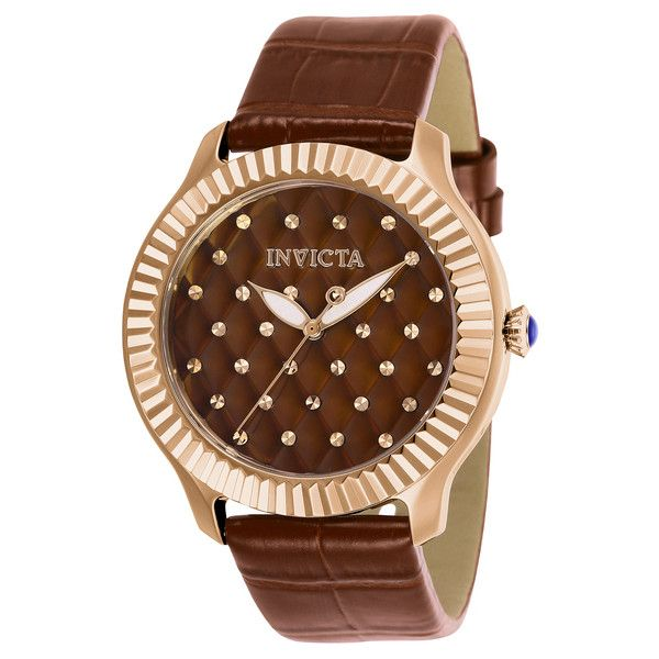 Women's Invicta Angel Women's Leather 40.5mm Watch Strap (225 BRL) ❤ liked on Polyvore featuring jewelry, watches, brown, jewelry & watches, women's watches, invicta watches, brown leather wrist watch, invicta wrist watch, leather jewelry and brown leather watches
