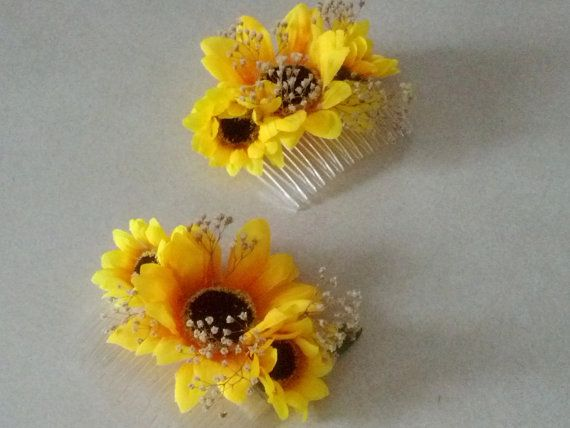 Sunflower hair Comb ready ship babys breath dried flower Hairpiece Rustic Woodland Budget Bridal party hair flower Wedding Accessories EDC