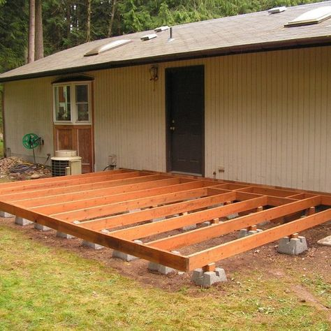 How to build a deck using deck blocks decking backyard for How to build a low deck